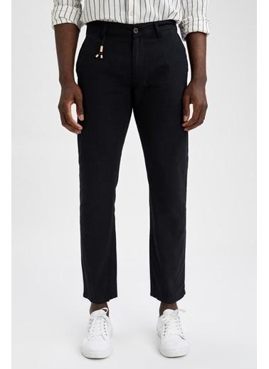 DeFacto Regular Fit Keten Chino Pantolon Siyah